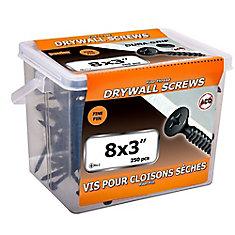 Vis à tête plate Phillips Drive à filetage fin pour cloison sèche à tête plate #8 x 3 pouces - 250pcs