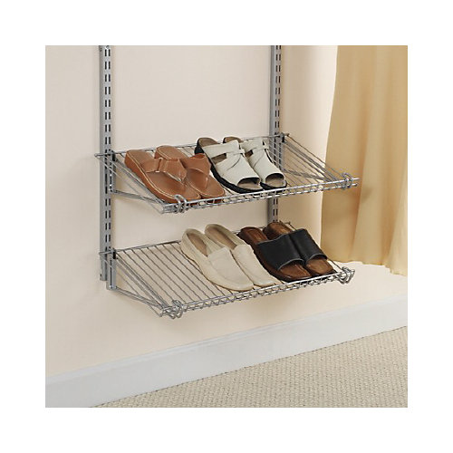 26-inch Double Shoe Shelf in Satin Nickel