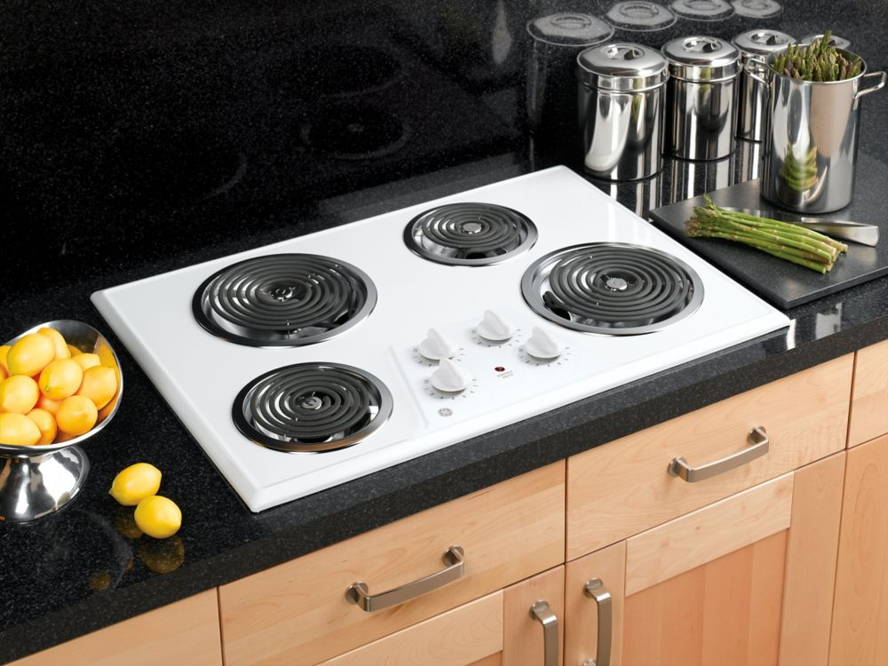 30-inch Built-In Electric Cooktop in White