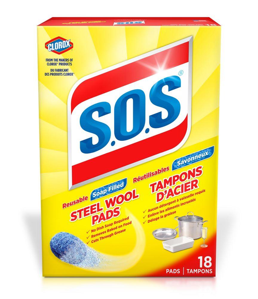 Tampons de laine d'acier savonneux S.O.S.(paquet de 18)