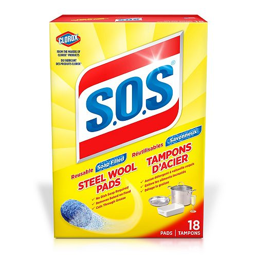 Clorox S.O.S Steel Wool Soap Pads, 18 Count