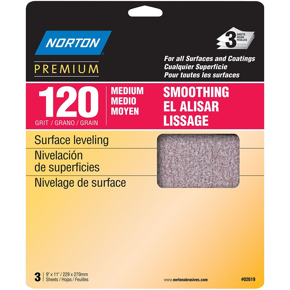 Premium  9 inch X11 inch  Sanding Sheets Medium-120 grit 3 pack
