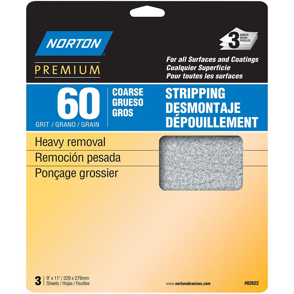 Premium  9 inch X11 inch  Sanding Sheets Coarse-60 grit 3 pack
