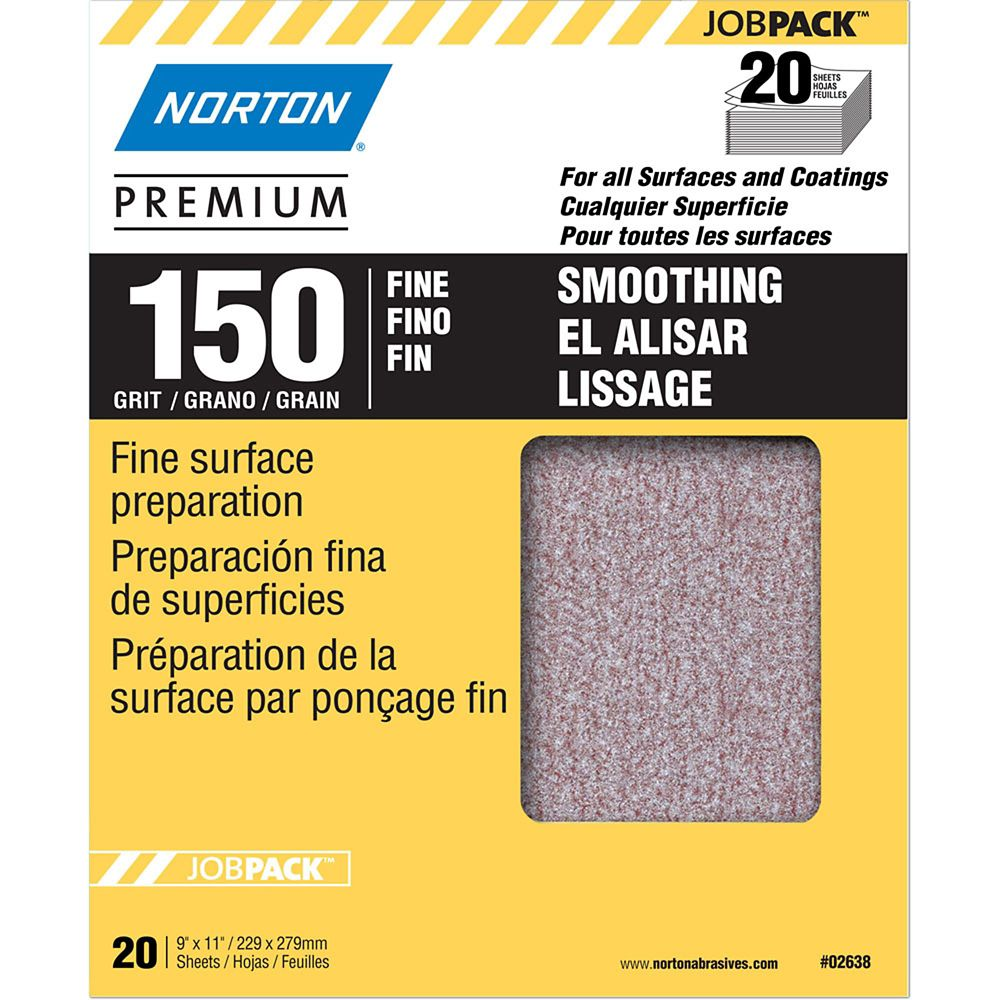 Premium  9 inch X11 inch  Sanding Sheets Fine-150 grit 20 pack