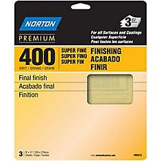 Premium 9 inch X11 inch Sanding Sheets Super Fine-400 grit (3-Pack)