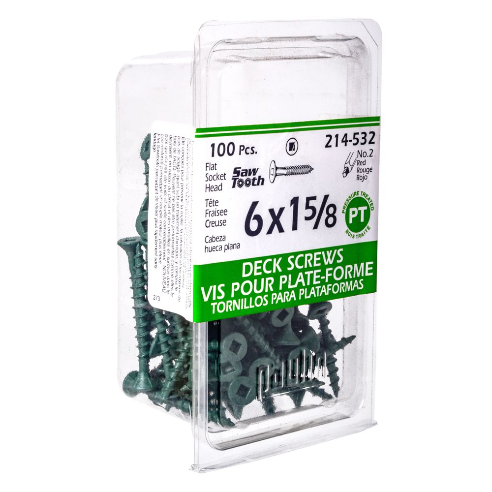 6x1-5/8 Green Deck Screws - 100 Pieces