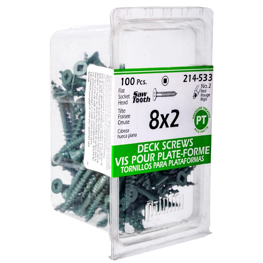 8x2 Green Deck Screws - 100 Pieces