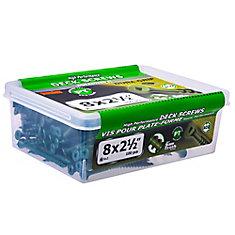 #8 x 2-1/2-inch Square Drive Flat Head Deck Screw UNC in Green - 100pcs