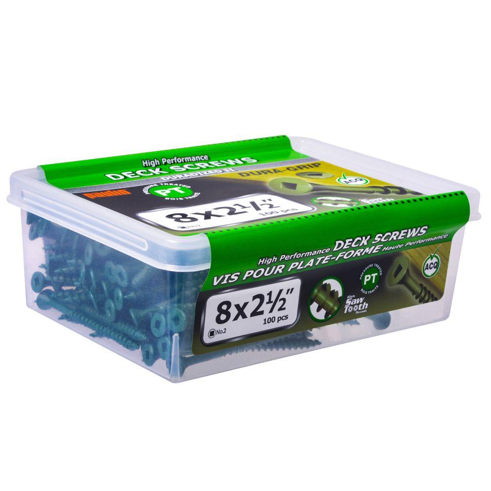 Paulin 8 x 2-1/2-inch Square Drive Flat Head Green Deck Screw UNC - 100pcs