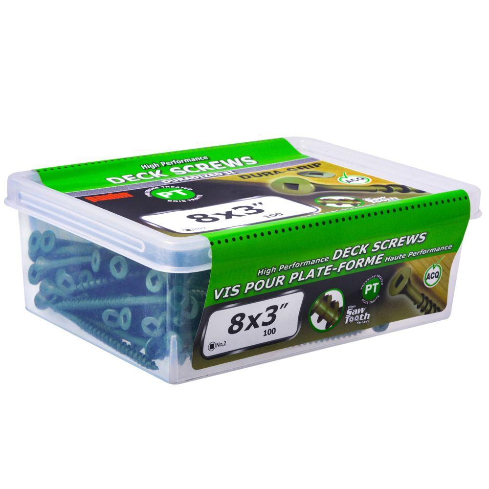 8x3 vis pour plate-forme - vert 100pcs