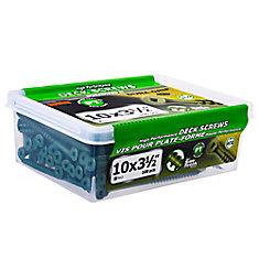 #10 x 3-1/2-inch Square Drive Flat Head Deck Screw UNC in Green - 100pcs