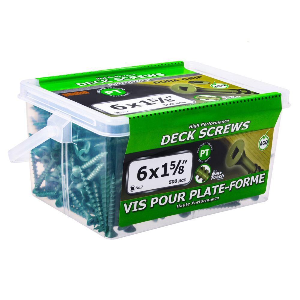 6x1 5/8 Green Deck Screws - 500 Pieces
