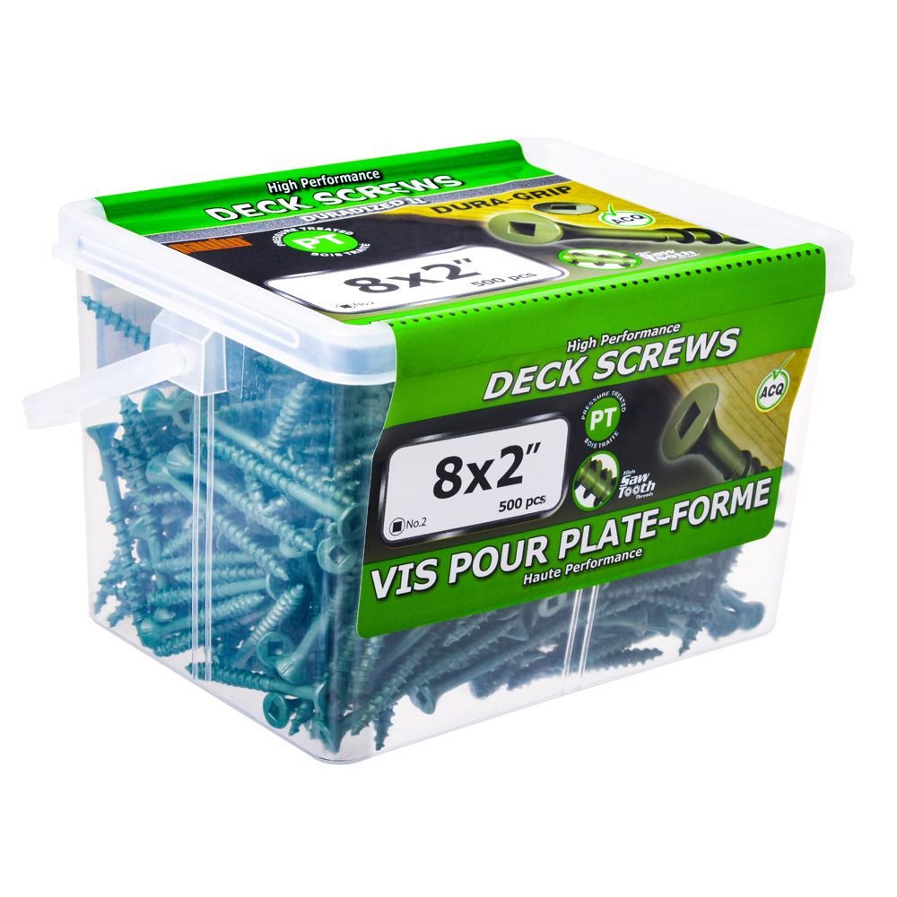 8x2 Green Deck Screws - 500 Pieces