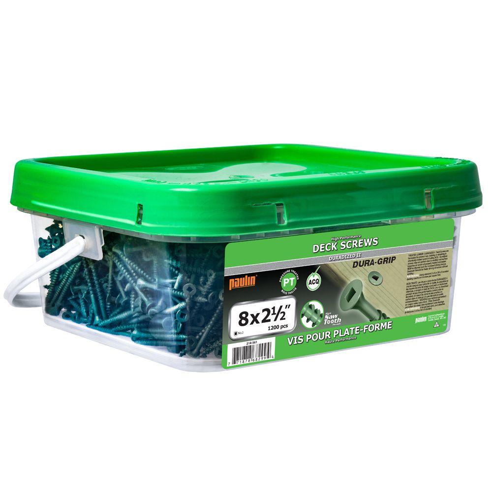 Paulin 8 x 2-1/2-inch Square Drive Flat Head Green Deck Screw UNC - 1200pcs
