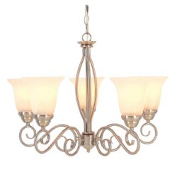 Hampton Bay 5-Light 60W Brushed Nickel Chandelier with Frosted Glass Shades