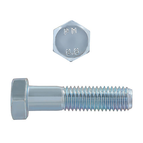 M12-1.75 x 50mm Class 8.8 Metric Hex Cap Screw - DIN 931 - Zinc Plated