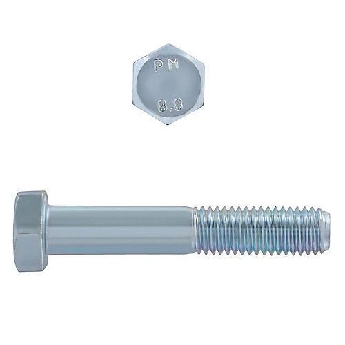 M12-1.75 x 70mm Class 8.8 Metric Hex Cap Screw - DIN 931 - Zinc Plated