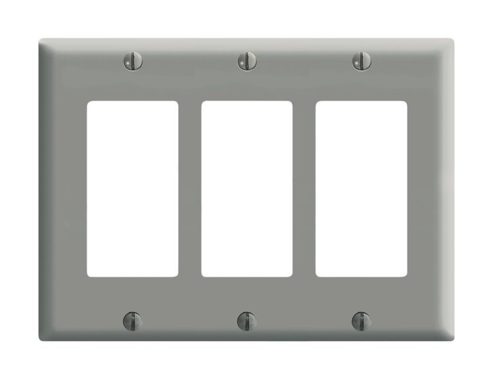 3 Gang Decora Plate, Gray