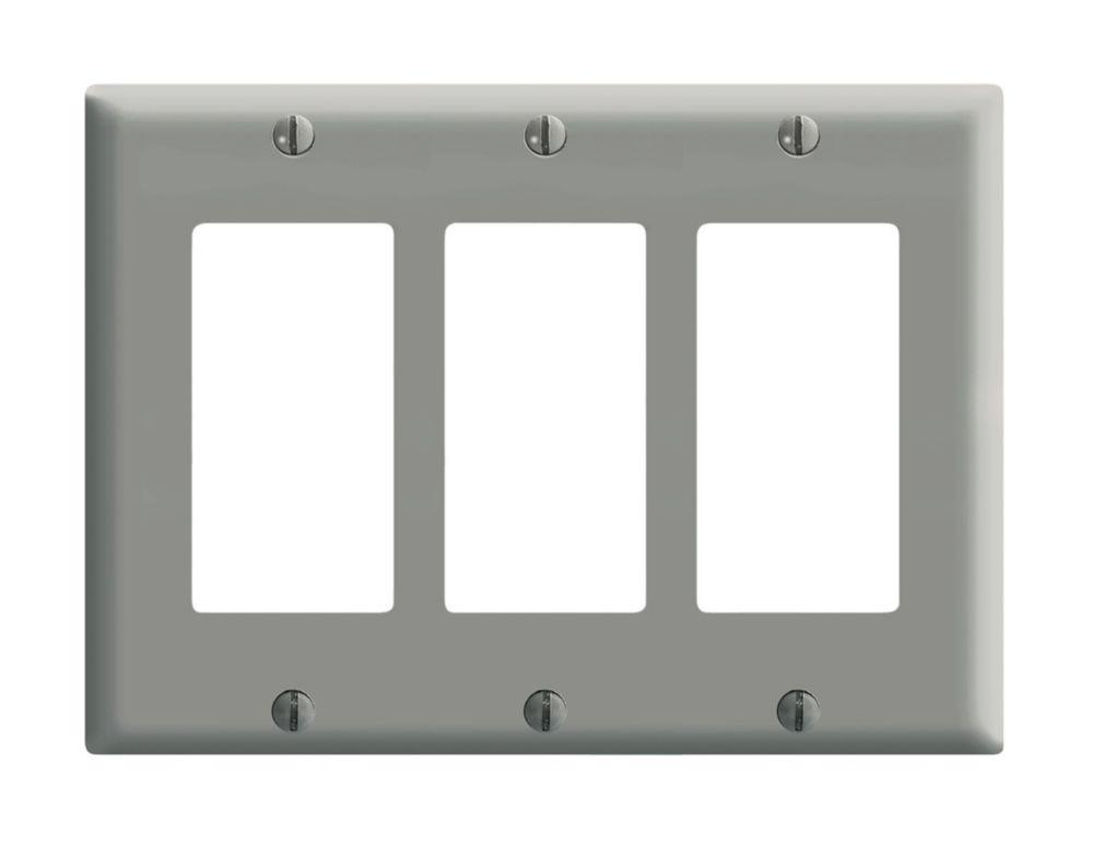 Leviton 3 Gang Decora Plate, Gray