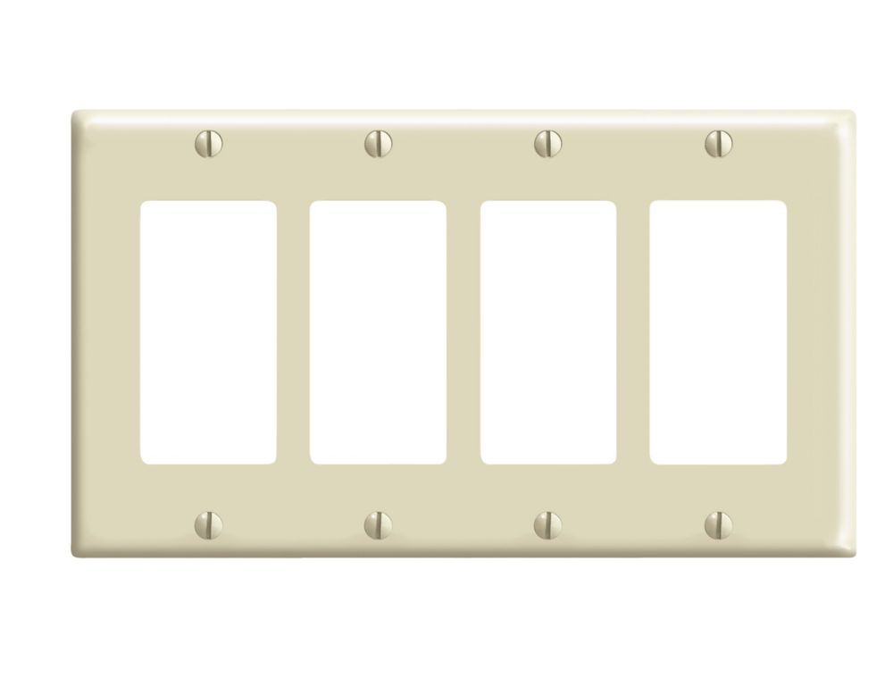 4 Gang Decora Plate, Ivory