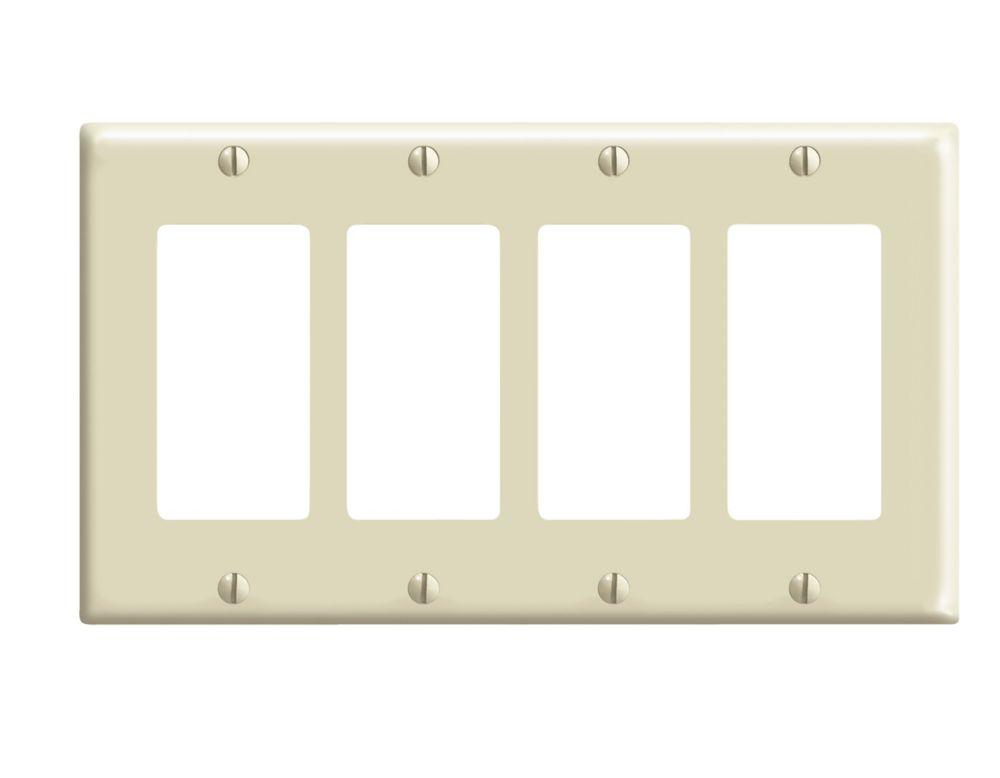 Leviton 4 Gang Decora Plate, Ivory