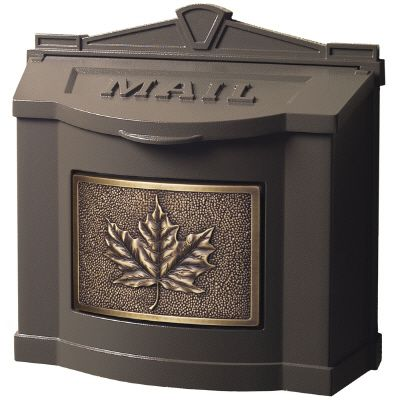 Wallmount Mailbox Metallic Bronze w/Antique Bronze Leaf Accent