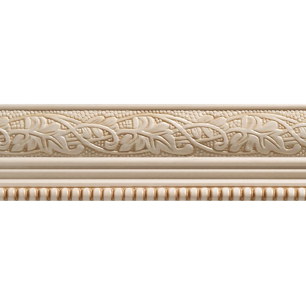 Ornamental Mouldings White Hardwood Embossed Leaf & Ball Trim Moulding 1/2 x 2-1/4 - Sold Per 8 Foot Piece