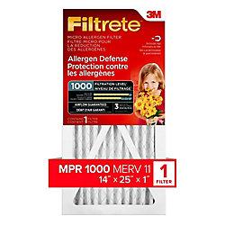 14-inch x 25-inch x 1-inch Allergen Defense MPR 1000 Micro Allergen Filtrete Furnace Filter
