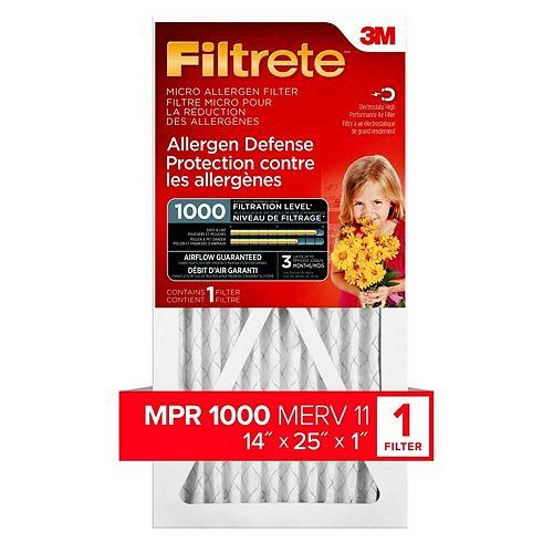 Filtrete Filters 14-inch x 25-inch x 1-inch Allergen Defense MPR 1000 Micro Allergen Filtrete Furnace Filter