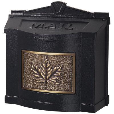 Wallmount Mailbox Black w/Antique Bronze Leaf Accent