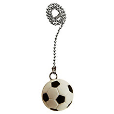 Soccer Ball Pull Chain with 12 Inch (30.5 cm) Brushed Nickel beaded Chain