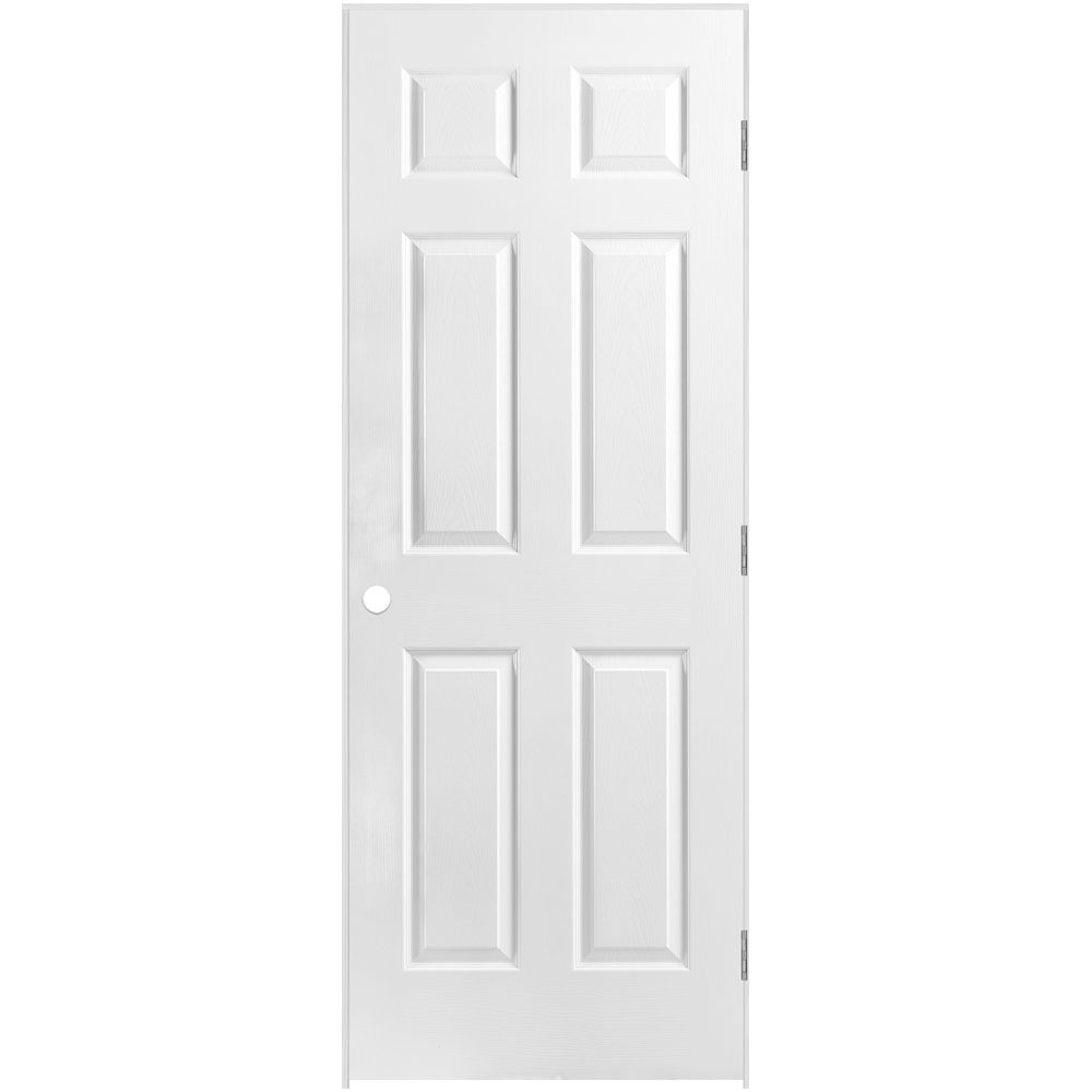 28-inch x 80-inch Lefthand 6-Panel Textured Prehung Interior Door