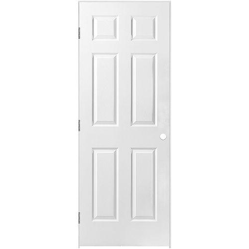 Masonite 28-inch x 80-inch Righthand 6-Panel Textured Prehung Interior Door