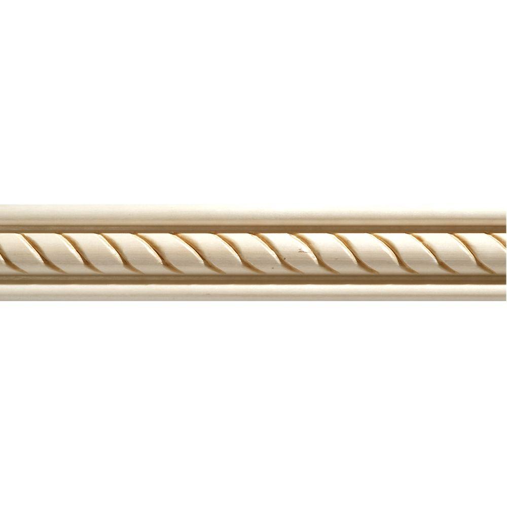Moulure décorative en bois blanc dur, gaufrée en corde 1/2 po X 1-3/8 po - prix par pièce 8 pied