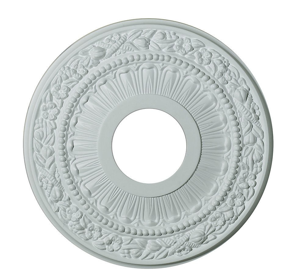 12-inch Medallion Fixture Accent with Harvest Pattern in Matte White Finish