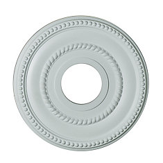 12-inch Medallion Fixture Accent with Rope and Bead Pattern in Matte White Finish