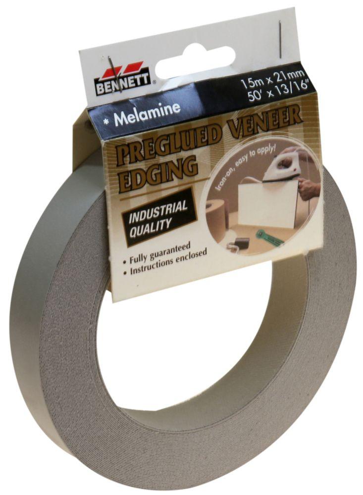 BENNETT 50 ft x 13/16 inch Pre-Glued Melamine, Light Grey Iron on Edging.