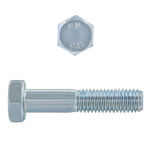 M10-1.50 x 50mm Class 8.8 Metric Hex Cap Screw - DIN 931 - Zinc Plated