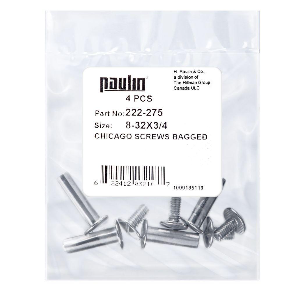 Papc 8-32x3/4 Chicago Screws 4Pcs