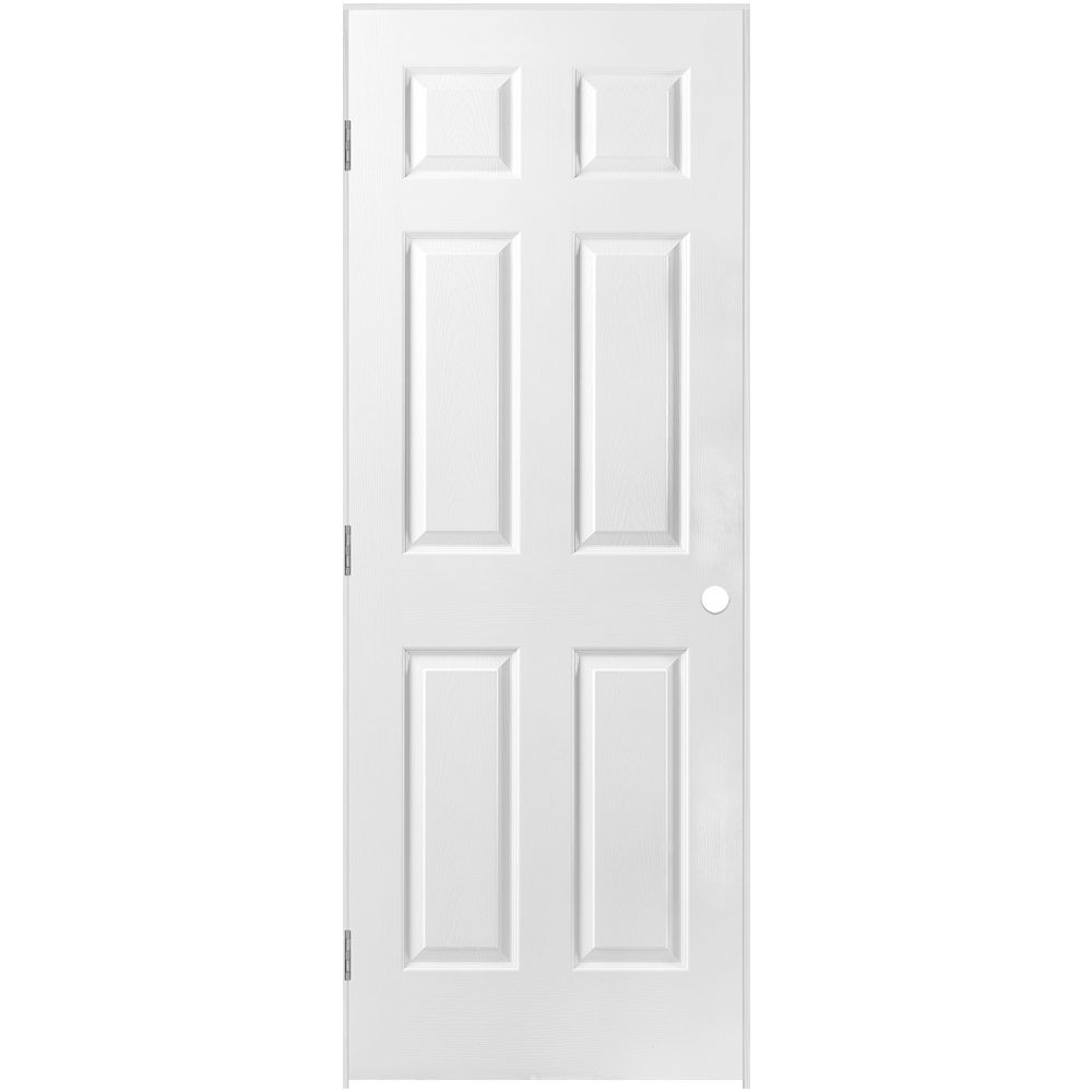 32-inch x 80-inch Righthand 6-Panel Textured Prehung Interior Door