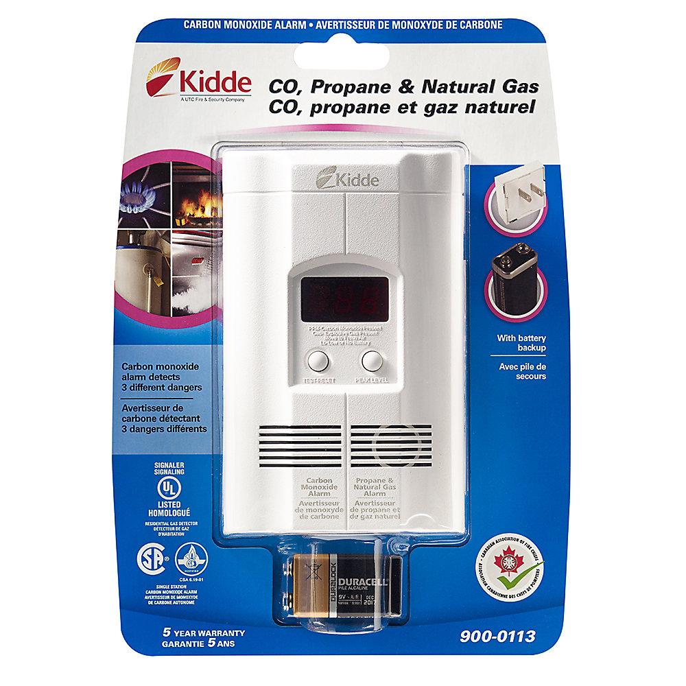 Avertisseur monoxyde de carbone, propane, gaz naturel - Affichage numérique - Pile de secours
