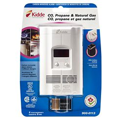 Kidde Avertisseur monoxyde de carbone, propane, gaz naturel - Affichage numérique - Pile de secours