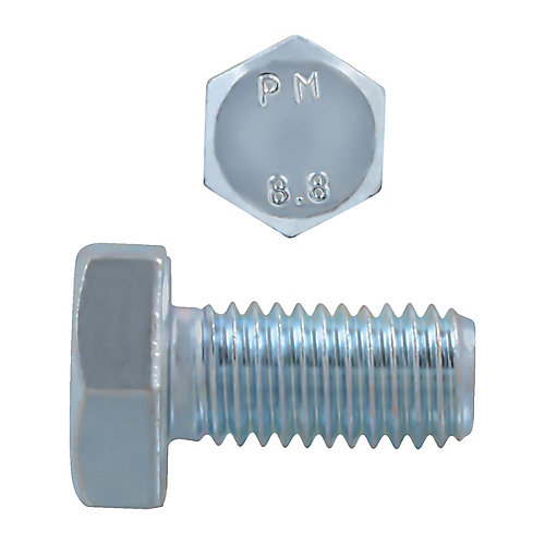 M10-1.50 x 20mm Class 8.8 Metric Hex Cap Screw - DIN 933 - Zinc Plated