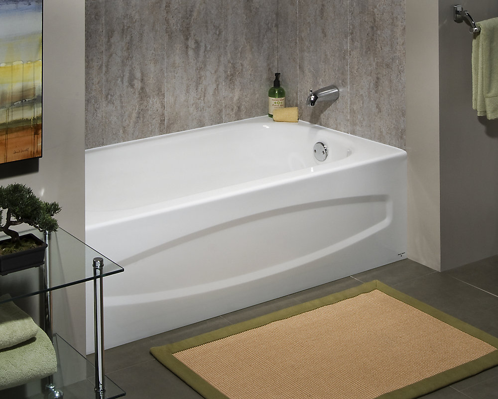 Cadet 5 Ft Enamel Steel Bathtub With Right Hand Outlet In