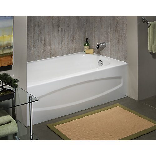 Cadet 5 ft. Enamel Steel Bathtub with Right-Hand Outlet in White
