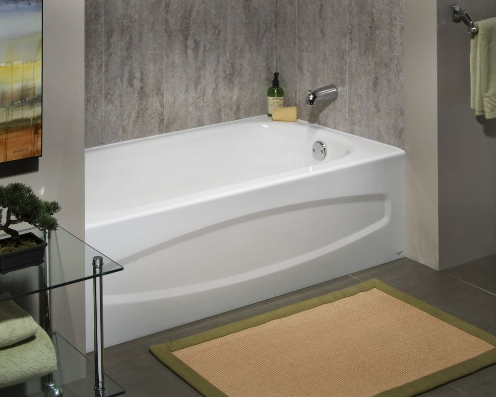 Cadet 5 Feet Enamel Steel Bathtub with Right-Hand Outlet in White