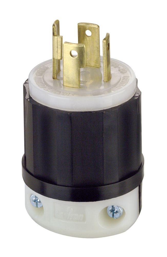 Leviton 30 Amp Black And White Nylon Body Locking Plug 125/250V 3P4W