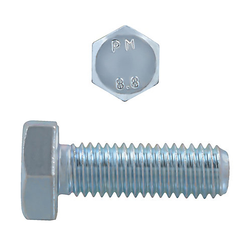 M10-1.50 x 30mm Class 8.8 Metric Hex Cap Screw - DIN 933 - Zinc Plated
