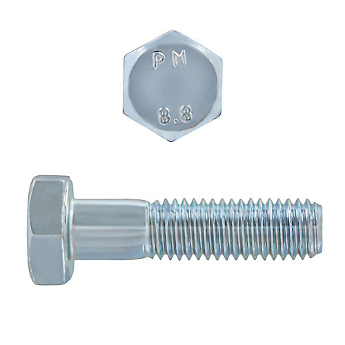 M10-1.50 x 40mm Class 8.8 Metric Hex Cap Screw - DIN 931 - Zinc Plated