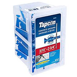 Paulin 3/16 x  2 3/4 Flat Head Tapcon  Concrete Anchor